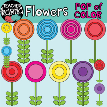 Flowers: Rainbow POP of Color Clipart (FREE today)