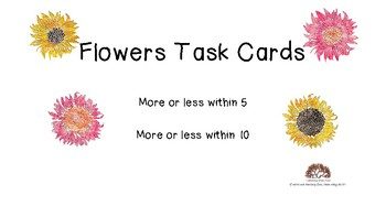 Flowers Task Cards Compare Sets Within 5 and Within 10