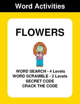 Flowers - Word Search Puzzle, Word Scramble,  Crack the Code