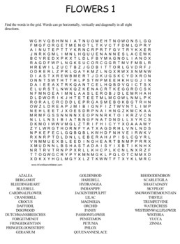 Flowers Word Search Puzzles -- Set 2
