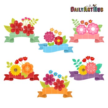 Flowers and Banners Clip Art - Great for Art Class Projects!