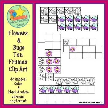 Flowers and Bugs Ten Frames Clip Art