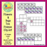 Ten Frames Clip Art - Flowers and Bugs