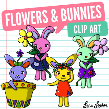 Flowers and Bunnies Clip Art - Spring and Easter Holiday Inspired