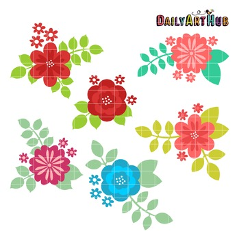 Flowers and Leaves Clip Art - Great for Art Class Projects!