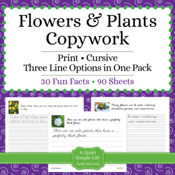 Flowers and Plants Unit - Copywork - Print - Handwriting