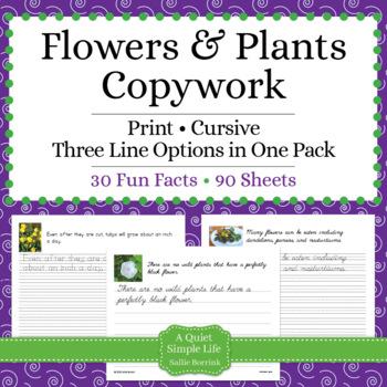Flowers and Plants Unit - Copywork - Print and Cursive - H