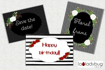 Flowers and frames clip art collection. Red, black and white. PNG Files.