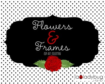 Flowers and frames clip art collection. Red, black and whi