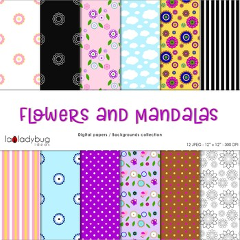 Flowers and mandalas digital papers. Floral backgrounds.