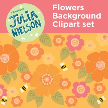 Flowers background clipart set
