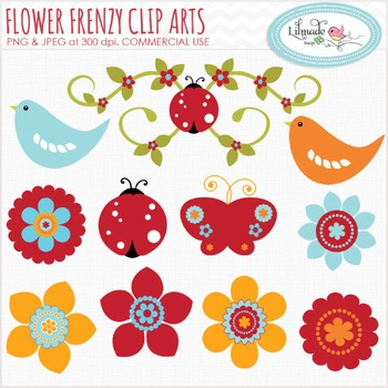 Flowers, birds and bugs clip art