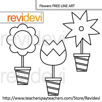 Flowers clip art - Free line art