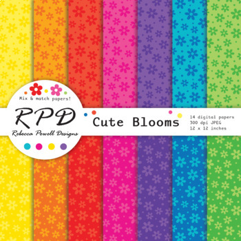 Flowers confetti pattern bright rainbow colours digital paper set/ backgrounds