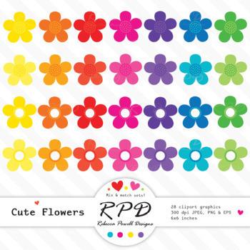 Flowers floral cute clipart set  bright rainbow colours, JPEG, PNG & EPS