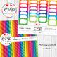 Flowers floral cute clipart set bright rainbow colours, JPEG & PNG