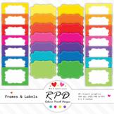 Clipart digital text box frames & labels set JPEG, PNG & EPS