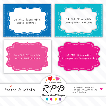 Clipart digital text box frames & labels set JPEG, PNG & EPS