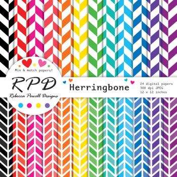 Herringbone chevrons rainbow colours digital paper set/ backgrounds