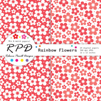 Flowers floral pattern rainbow & white digital paper set/ backgrounds
