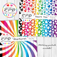 Flowers floral cute clipart set rainbow colours & white, JPEG & PNG
