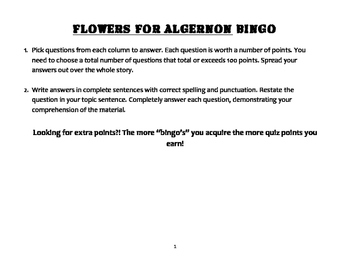 Flowers for Algernon BINGO Assessment
