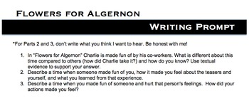 Flowers For Algernon Bullying Writing Prompt