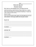 Flowers for Algernon Character Analysis Activity - Daniel Keyes