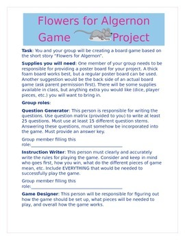 """Flowers for Algernon"" Daniel Keyes Board Game Project"