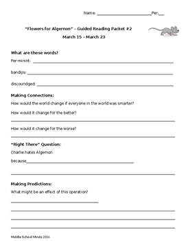 Flowers for Algernon Guided Reading Packet #2