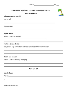 Flowers for Algernon - Guided Reading Packet #3