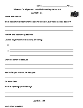 Flowers for Algernon - Guided Reading Packet #4