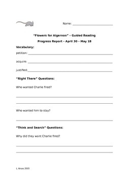 Flowers for Algernon - Guided Reading Packet 6 - April 30 - May 18