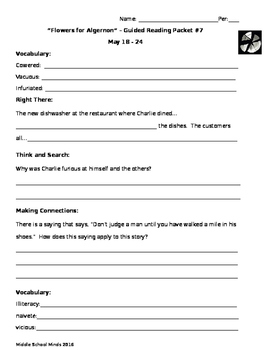 Flowers for Algernon - Guided Reading Packet #7