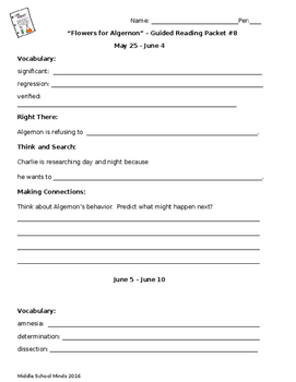 Flowers for Algernon - Guided Reading Packet #8