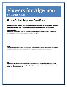 Flowers for Algernon - Keyes - Group Critical Response Questions