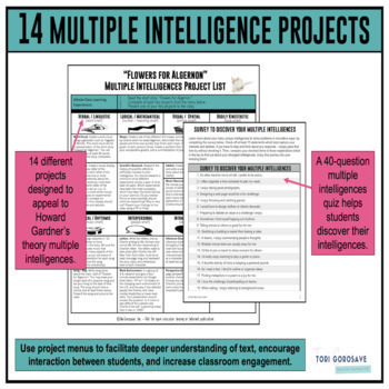 Flowers For Algernon Multiple Intelligence Project List And Rubrics