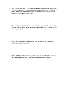 Flowers for Algernon Part 1 Quiz