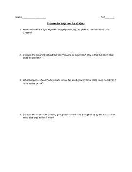 Flowers for Algernon Part 2 Quiz