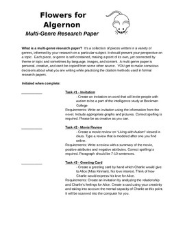 Flowers for Algernon Post Reading Activity: Multi-genre Research Paper