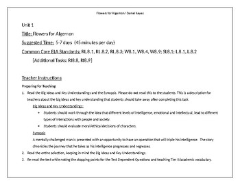 Flowers for Algernon Unit with Lesson Plans