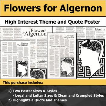 Flowers for Algernon - Visual Theme and Quote Poster for Bulletin Boards