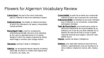 Flowers for Algernon Vocabulary (English/Spanish)