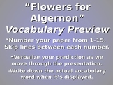 Flowers for Algernon Vocabulary Prediction Activity