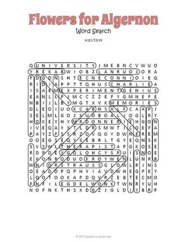Flowers for Algernon Word Search Puzzle