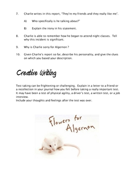 Flowers for Algernon - Worksheet 1 and key