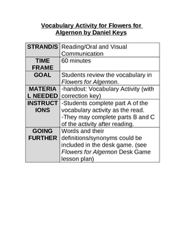 Flowers for Algernon by Daniel Keyes-Vocabulary Activity