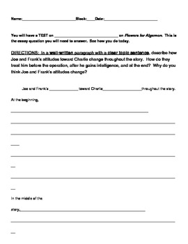 Flowers for Algernon final test short-answer practice (student worksheet)