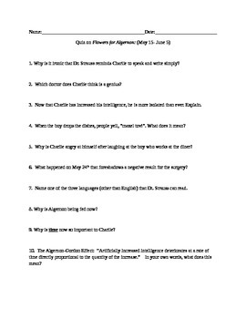 Flowers for Algernon short answer QUIZ on sections May 15-June 5