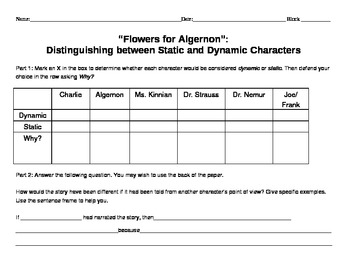 Flowers for Algernon - static and dynamic characters
